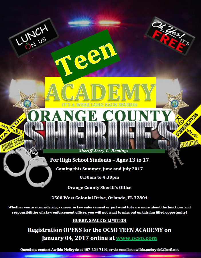 Orange County Sheriff's Office Will Be Hosting a Teen
